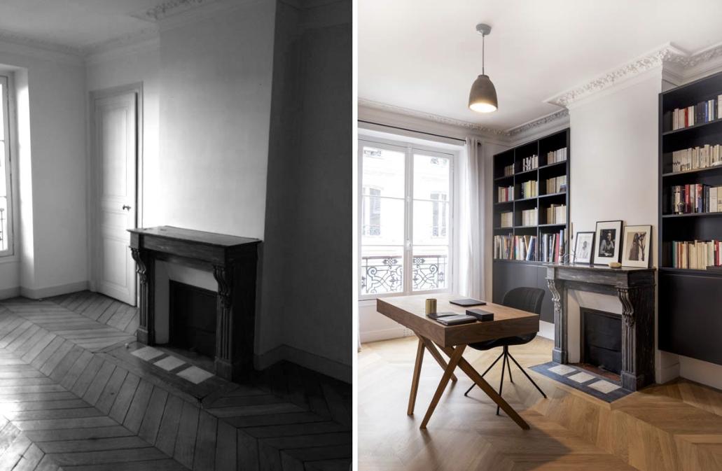 Appartement 75m2 - Bordeaux Décoration d'une bibliothèque