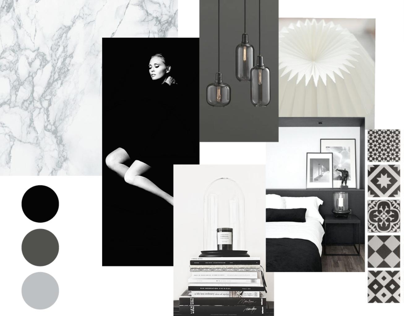 Planche d'ambiance chambre noir et blanc