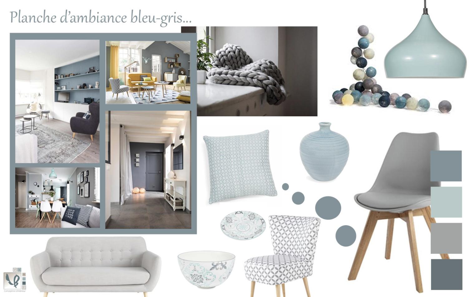 Planche d'ambiance bleu-gris